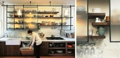 Desain Rak dapur dengan pintu geser