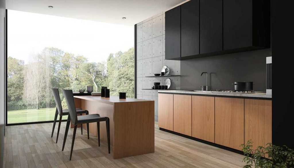 Desain dapur minimalis modern Maskulin dengan warna gelap