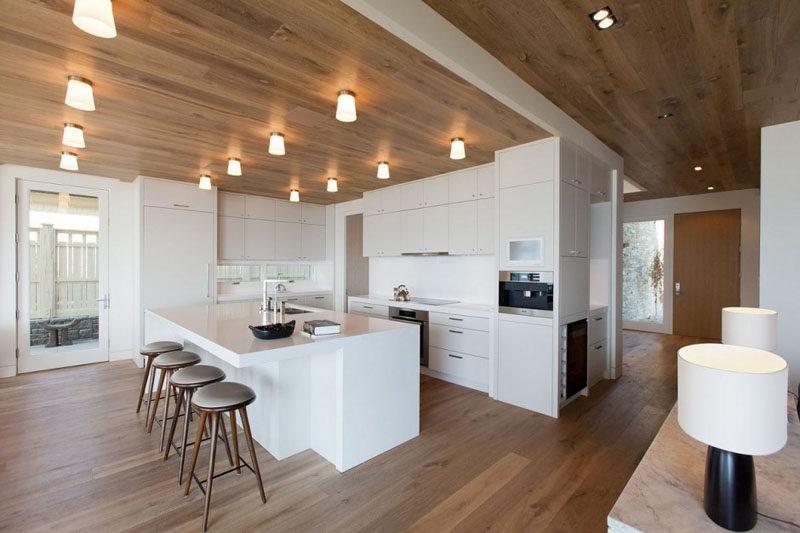 Desain dapur minimalis modern Putih dan kayu